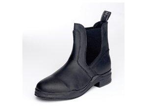 HyFOOTWEAR Lederwachs- Reitstiefelette (Erhältlich in den Farben Schwarz oder Braun und in mehreren Größen) - Praktische Stiefelette zum Reinschlüpfen mit Gummieinsätzen Schwarz