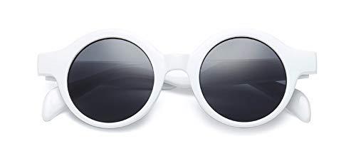 Sonnenbrille Kleine Runde Sonnenbrille Frauen Männer Sonnenbrille Uv 400 Weißen Rahmen Graue Linse (Sonnenbrille Weiße Runde,)