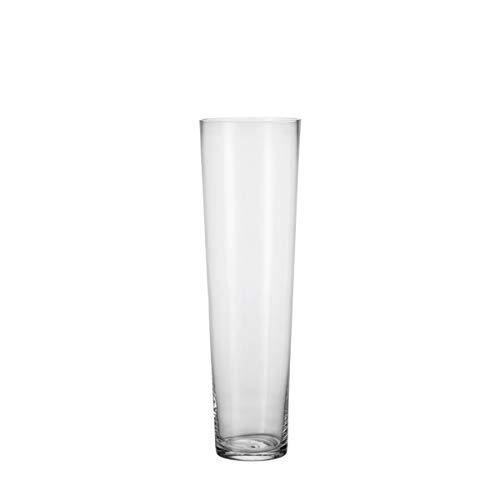 Leonardo Vase Konisch, handgfertigte Vase mit massivem Eisboden, elegante Blumen-Vase mit festem Stand aus Glas, 60-cm, 029547