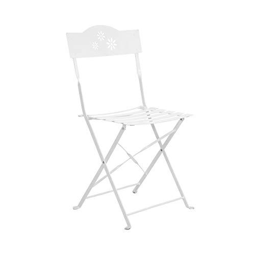 Butlers Daisy Jane Klappbarer Gartenstuhl in Weiß 45x41x87 cm - Balkonstuhl in Retro-Optik - Klappbarer Stuhl für Balkon
