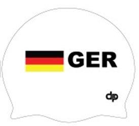 Diapolo Professionale Schwimmkappe Germany Silikon Badekappe Bademütze Schwimmmütze für Damen und Herren und Mädchen und Jungen (weiß)