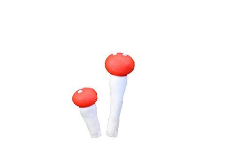 Cupcinu Miniatur Mushroom Fairy Garden Micro Landschaft Pflanzen Ornaments Puppenhaus DIY Zubehör Garten Home Ausstattung (2Pack, 1Klein 2cm Hoch und 1Big 4cm Hoch) -
