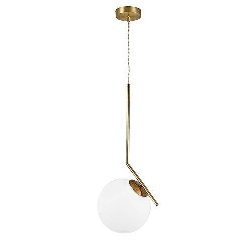 Belief Rebirth Accesorio de iluminación Colgante con Pantalla de Vidrio Redonda, cordón Altamente Ajustable Pasillo Dormitorio Cocina Lámpara Colgante - Nordic Creative Golden Suspension Light