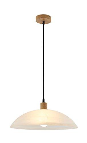 Deckenleuchte, Deckenlampe, Pendelleuchte, Wohnzimmerlampe, Küchenlampe, Esszimmerlampe, Lampe, Leuchte, Eichefarben hell, Glas, alabaster (Küche Pendel-leuchten)