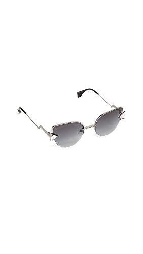 Fendi ff 0242/s 9o kj1, occhiali da sole donna, grigio (dark ruthenium/grey), 52