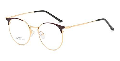 Flydo Mode Brille Halbrahmen Vintage Metallrahmen Fensterglas Brille Ohne Stärke Durchsichtig Sonnenbrille mit Retro Winddicht Sonne Brille Damen Herren