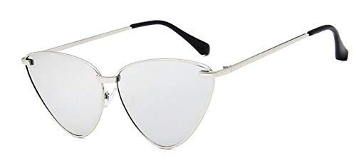 len,Cat Eye Sonnenbrille Für Frauen Ocean Klare Linse Sonnenbrille Weiblichen Vintage Silver Frame Lens Katze Augen Farben Gläser ()