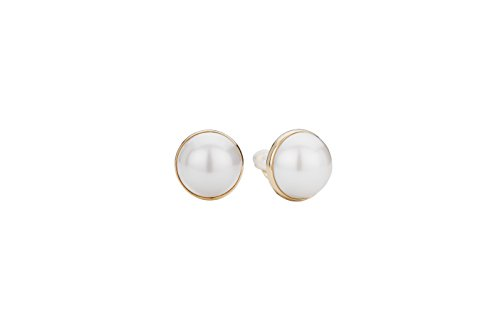 Traveller® Schmuck Ohrring Ohrclip mit großer Perle - 22kt vergoldet oder rhodiniert - Ø 20mm (gold)