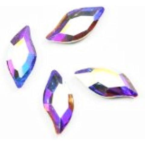 Swarovski 2797 - Cristalli di qualità AB a forma di foglia, taglio brillante, con fondo piatto, confezione piccola da 4 pezzi, misure: 8 x 4 mm
