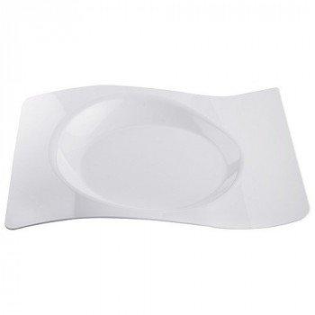 Assiette vague plastique 22x18 cm blanc x12