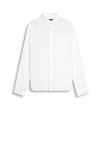 ESPRIT Herren Freizeit Hemd 047ee2f023-Leinen Weiß (White 100)
