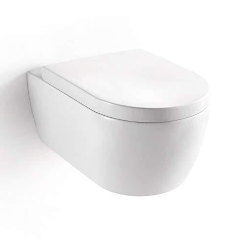 Soho Hänge Wand WC RIMLESS / SPÜLRANDLOS Toilette Brillant Weiss mit Duroplast Soft Close WC Sitz Nano Beschichtung, Compact