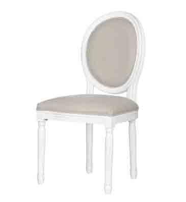 Poltrona ovale bianca in legno stile vintage con imbottitura in cotone L'ARTE DI NACCHI PP-01
