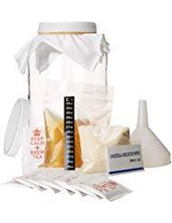 Miloo Premium Kombucha Starter Kit. Alle Zutaten enthalten und Frische Kombucha Scoby, Durable Glas 1 Gallon Mason Jar, Temp-Streifen, PH Tests und Trichter enthalten -
