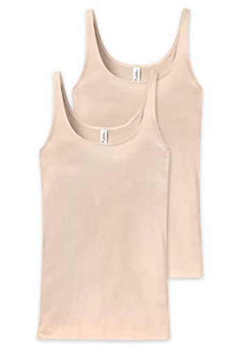 Schiesser Damen Unterhemd Trägertop, 2er Pack, Beige (Nude 410), 36