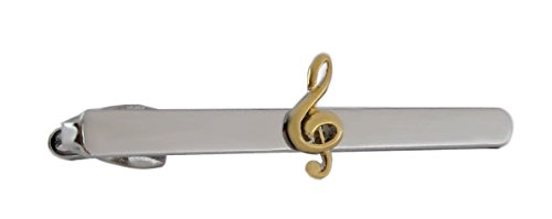 magdalena r. Krawattennadel Krawattenklammer Musik Notenschlüssel Bicolor ca. 6,90 cm lang! + Silberbox