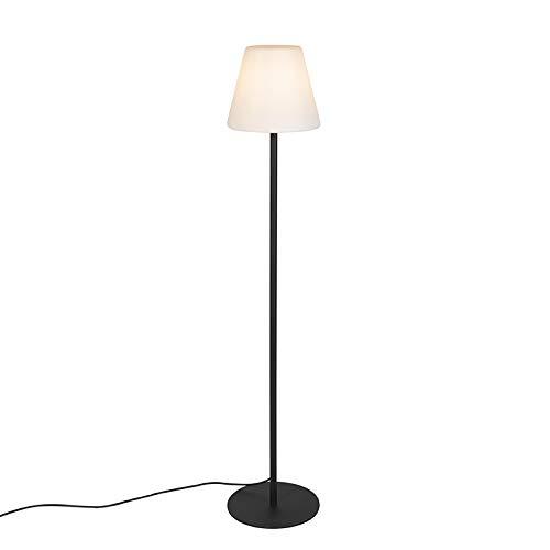 QAZQA Moderne Lampadaire/Lampe de sol/Lampe sur Pied/Luminaire/Lumiere/Éclairage moderne noir extérieur - Virginia Acier inoxydable/Plastique Noir,Blanc Oblongue/Ovale/Jardin