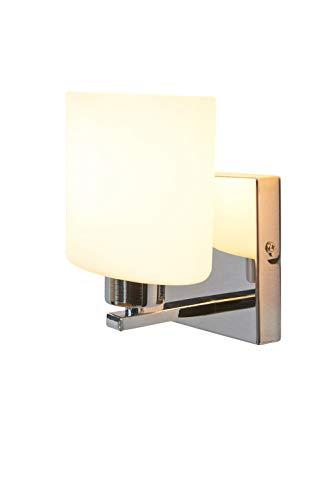 anTes interieur Wandleuchte Parata weiß/stilvoll und elegant/Glasschirm/Metall verchromt/Wandlampe -