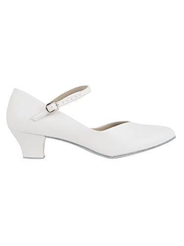 CH791 So Danca Charakterschuhe Damen Latein Salsa Rumba Trachten Tango Tanz Schuhe mit Chromledersohle, Weite M, Absatz 4 cm - mit Ansteck Button Weiß