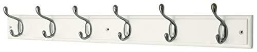 Headbourne Azhr4090 Garderobenleiste mit 6 Nickelhaken an einem weißen Holzbrett