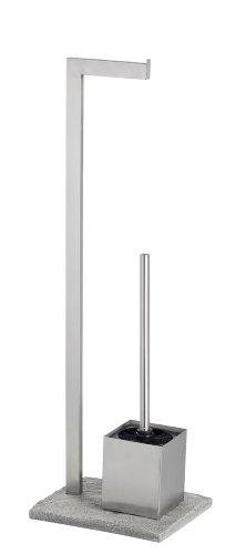 WENKO 20604100 Stand WC-Garnitur Granit - WC-Bürstenhalter, Edelstahl rostfrei, 23 x 73.5 x 19.5 cm, Satiniert