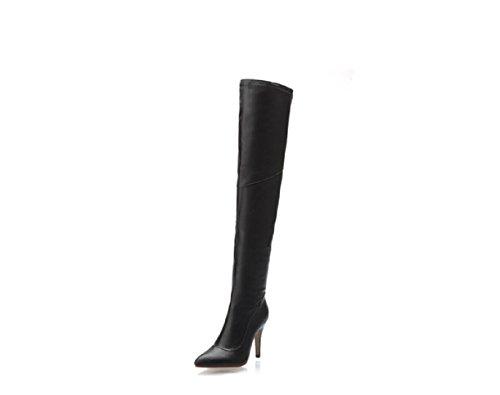Signore delle donne Tacchi alti lungo tubo stivali a punta , black , 36