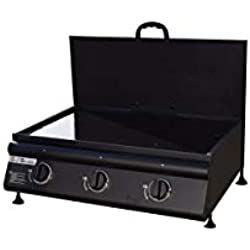 Grill garden plancha gaz a Poser avec Couvercle 3 brûleurs - INOX - 10,5 KW - 62 x 41,5 cm - Noir Mat