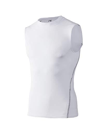 Gym Herren T-Shirt für Sport Fitness ohne Ärmel Männer Bodybuilder Trainingsshirt Top ärmellos Sportshirt Bekleidung für Bodybuilding Training Weiß S