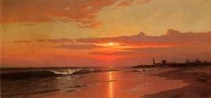 GFM Painting Handgemalte Ölgemälde Reproduktion von Sunrise Marine View,Ölgemälde von Francis A Silva - 72 By 96 inches -