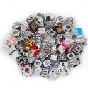 Pack Of 10 Assorted Silver and Rhinestone Charm Beads Fits Most Major...