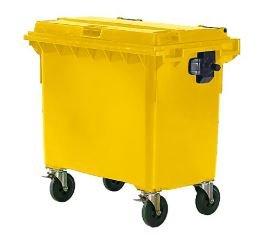 *SSI Schäfer Kunststoff-Großmüllbehälter, nach DIN EN 840 – Volumen 660 l – gelb – Abfalltonne Müllcontainer Müllkübel Müllsammler Mülltonne*