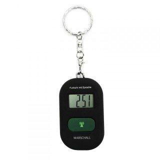 sprechender Schlüsselanhänger sprechende Uhr Wecker mit Funk Funkuhr schwarz