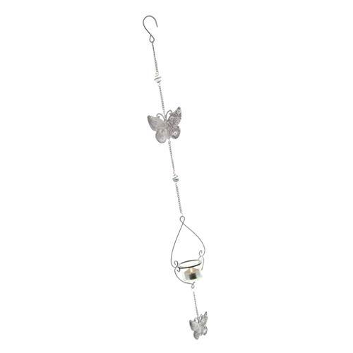 Sharplace Bougeoir Suspendu Chandelier Vintage Chaîne Fer Papillon Lanterne Blanc
