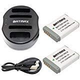 Batmax 2Packs NB-13L NB 13L NB13L Battery + USB Dual Charger for Canon NB-13L Battery;Canon PowerShot G5X G7X G9X G7 X Mark II G9X Mark II SX620 HS SX720 HS SX730 HS Digital Cameras