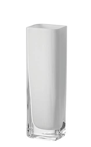 Leonardo Lucca Vase weiß, B/H/T: 8/25/6 cm, rechteckig, handgefertigtes Farbglas, 065954