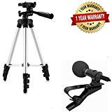 tripod 3110 happytech™ Foldable Camera Tripod With Mobile Clip Holder Bracket, Fully Flexible Mount Cum Tripod, Stand with 3D Head & Quick Release Plate (Black)