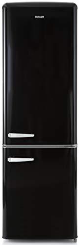 Domo Réfrigérateur Combiné Vintage | Look Rétro | Style année 50 | Classe A++ | Capacité 181L + 63L soit 244L | Charnière à droite (Noir)