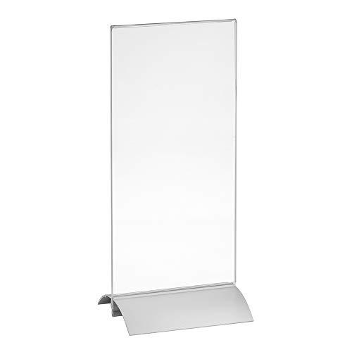 Tischaufsteller DIN Lang (99x210mm) mit Aluminiumfuß doppelseitig/Werbeaufsteller/T-Aufsteller/Tischständer/Gastronomie/Tischständer/Acrylglas - Zeigis® -