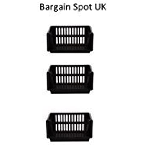 Large 3 Tier Stacking Baskets Storage Veg Rack Plastic Stackers 35cm (Black) by Whitefurze