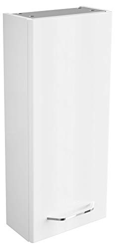 FACKELMANN Hängeschrank Milano/Badschrank mit Soft-Close-System/Maße (B x H x T): ca. 30 x 68 x 15 cm/Schrank fürs Bad mit 1 Tür/Türanschlag frei wählbar/Korpus: Weiß/Front: Weiß -