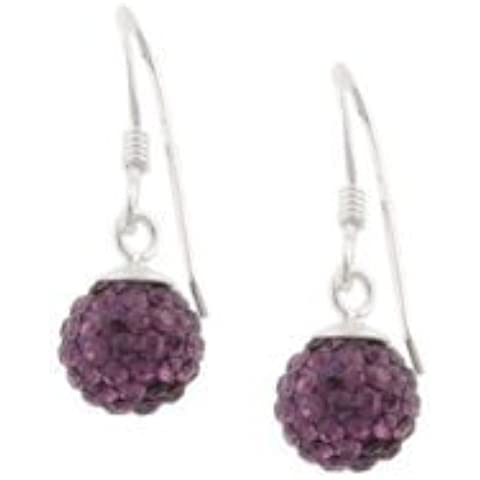 10 mm amatista púrpura piedra Swarovski del estilo del Shamballa de pendientes colgantes - con diseño de moda