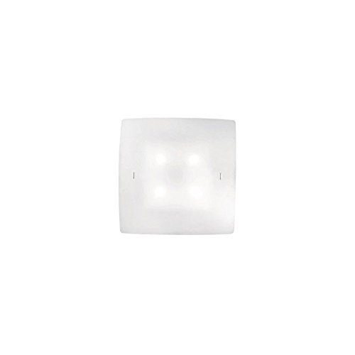 Ideal Lux CELINE PL4Suitable for Indoor Use E27White-Wall Lighting (Surfaced, Bedroom, Children 's Room, Living Room, White, Glass, Metal, IP20, Square)