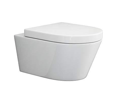 SSWW | Design Hänge WC | Spülrandlose Toilette | Wand-WC | WC-Set | Inkl. abnehmbaren WC-Sitz mit Softclose Absenkautomatik | BETA.19 | 540 x 360 x 310 mm