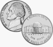 1974 Jefferson Nickel by US Mint
