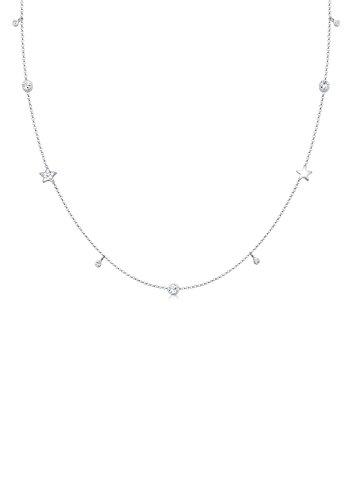 Elli Damen Halskette Solitär Sterne Swarovski Kristalle in 925 Sterling Silber - 45cm Länge
