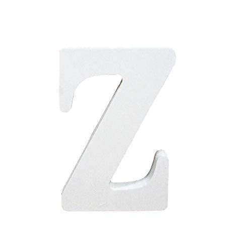 Lettres en Bois, Toifucos 10cm A-Z DIY Alphabet Anglais Ornaments D'artisanat pour Accueil Mariage Anniversaire Décoration de fête Accessoires, Blanc 1 pcs Z