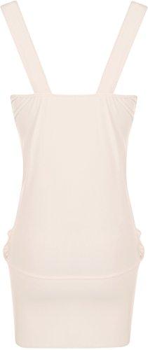 WearAll - Robe sans manches courte et bouffante avec un ourlet serré et une broche - Robes - Femmes - Grandes tailles 44 à 50 Nude