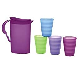 Tupperware Mini Kids Impression Pitcher With Multi-Colored Tumblers