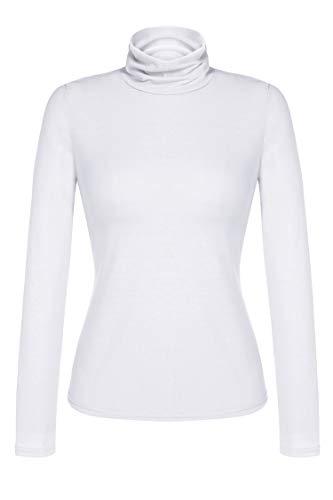 Zeagoo Damen Rollkragen Basic Slim Fit Shirt Langarmshirt Top Bluse, Weiß, EU 42(Herstellergröße:XL) - Weiße Baumwolle Rollkragen