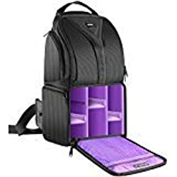 Neewer Caméra Sac à dos Housse Écharpe 24,9x20x42,9 Centimètre Imperméable Léger et Durable pour DSLR et Appareil Photo Mirrorless (Canon Nikon Sony Pentax Olympus Fujifilm Panasonic) Violet